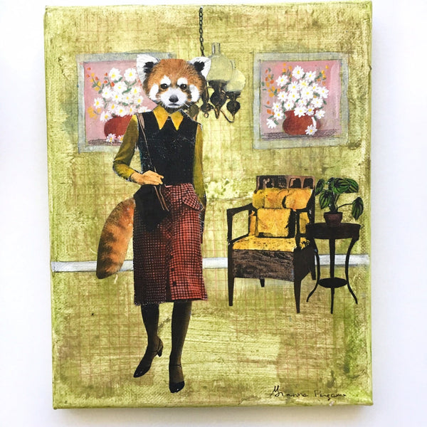"Original Animal Illustration - Red Panda Art -  8x10"" Collage Painting By Gianna Pergamo (Pergamo Paper Goods)"