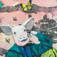 "Retro Pig 8x10"" Collage Painting"