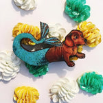 Handmade Retro Gifts for Dog Lovers - Dachshund Mermaid Wooden Pin www.pergamopapergoods.com
