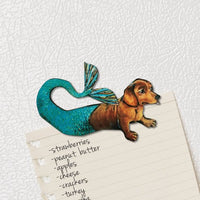 Housewarming Gifts for Mermaid Dog Lovers - Mermaid Dachshund Magnet www.pergamopapergoods.com