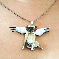 Illustrated Handmade Jewelry Gifts for Pug Lovers - Angel Pug Necklace www.pergamopapergoods.com