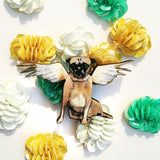 Handmade Gifts for Pug and Dog Lovers - Angel Pug Wood Lapel Pin www.pergamopapergoods.com
