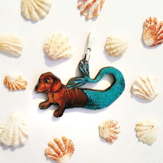 Handmade Gifts and Jewelry for Dog Lovers - Dachshund Mermaid Necklace www.pergamopapergoods.com