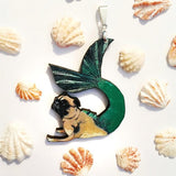 Handmade Jewelry & Gifts for Pug Lovers - Mermaid Pug Pendant Necklace www.pergamopapergoods.com