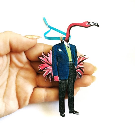 Retro Christmas Stocking Stuffer - Flamingo Man Christmas Ornament www.pergamopapergoods.com