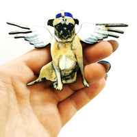 Pug Lover Stocking Stuffer Holiday Gift- Angel Pug Christmas Ornament www.pergamopapergoods.com