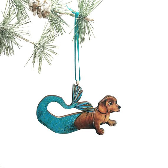 Dog Lover Handmade Christmas Gift - Mermaid Dachshund Holiday Ornament www.pergamopapergoods.com