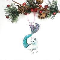 Cat Lover Handmade Christmas Ornaments - White Mermaid Cat Ornament www.pergamopapergoods.com