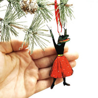 Retro Handmade Holiday Ornaments - Alligator Christmas Ornament www.pergamopapergoods.com
