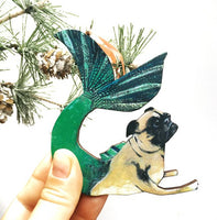 Stocking Stuffers for Pug Lover- Handmade Mermaid Pug Holiday Ornament www.pergamopapergoods.com
