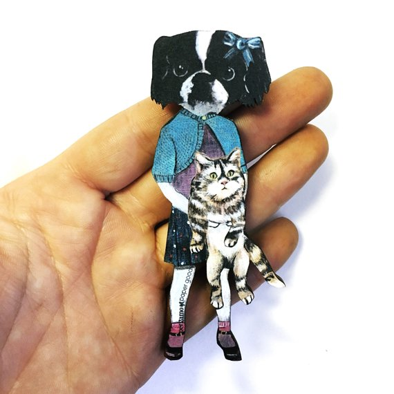 Anthropomorphic Dog Art Gifts for Retro Lovers - Bertha Dog Magnet www.pergamopapergoods.com