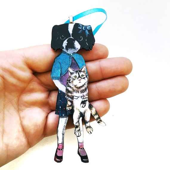 Japanese Chin Holiday Stocking Stuffer -  Dog Girl Christmas Ornament www.pergamopapergoods.com