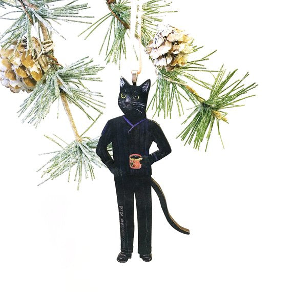Cat Lover Christmas Gift Stocking Stuffer - Black Cat Holiday Ornament www.pergamopapergoods.com