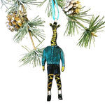 Animal Lover Holiday Stocking Stuffer - Giraffe Boy Christmas Ornament www.pergamopapergoods.com
