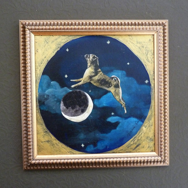 Pug Over the Moon Painting