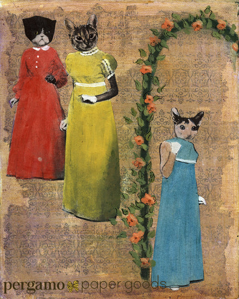 Art and Gifts for Vintage Lovers - Sassy Cats Art Print www.pergamopapergoods.com