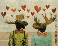 Unique Gay Art for Animal Lovers - Animal Art - Love Moose Art Print by Pergamo Paper Goods