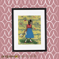 Framed cat art, mixed media piece of a dressed up cat