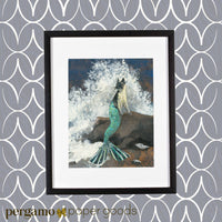 Retro art print of a mermaid cat, Mermaid Cat Art, Cat Mermaid Art, Mixed Media Cat Illustration, Mixed Media Mermaid IllustrationArt for Cat Lovers and Gifts for Cat Moms - Mermaid Cat Art Print www.pergamopapergoods.com