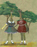 dressed up giraffe art, unique lesbian art, gift for lesbian wedding, sister art, twin art, retro art, vintage art