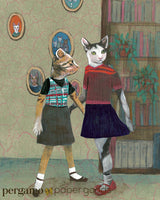 Mixed Media Illustration of Two Dressed Up Cat, Lesbians or Friends, in a Library.