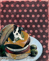 Boston Terrier Art- Mixed Media Art Featuring a Boston Terrier in a Cheeseburger, Vintage Look, Red Polka Dot Background