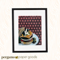 Framed Boston Terrier Art Print. Live puppy dog in a vintage burger on a plate.