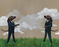 Illustration of two dachshunds dressed in suits, throwing a ball. Vintage feel. Dog art, dachshund art. Vintage art.