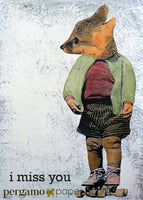 "Collage illustrated fox, dressed up fox card, text reads ""I Miss You,"" Cute fox art, fox wearing rollerskates Artistic Greeting Cards for Animal Lovers - I Miss You Fox Card by Pergamo Paper Goods"