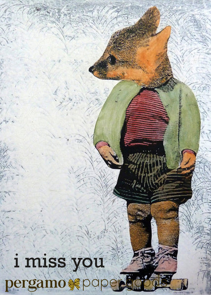 "Collage illustrated fox, dressed up fox card, text reads ""I Miss You,"" Cute fox art, fox wearing rollerskates"