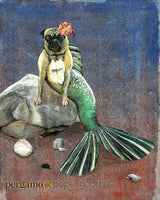 Unique Wall Art for Pug Owners and Dog Lovers - Mermaid Pug Art Print by Pergamo Paper Goods