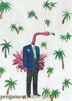 Flamingo illustration with palm trees. Flamingo greeting card. Florida greeting card. Handmade greeting card. Mixed media greeting card. Artistic greeting card