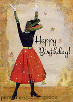 Retro illustration of a dressed up alligator. Card text reads happy birthday. Retro birthday card, florida birthday card, alligator birthday card