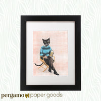 Framed Cat Art - Gifts for Cat Lovers - Vintage Beer Cat Art Print - Funny Cat Gifts by Pergamo Paper Goods