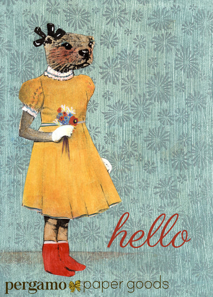 """Hello"" Otter Girl Retro Illustrated Greeting Card www.pergamopapergoods.com"