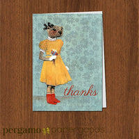 Thanks Otter Card | Otter Girl Retro Illustrated Greeting Card | Dressed Up Animal Stationery | Weird Otter in a Dress | Handmade Collage