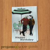 Illustrated Birthday Card of Two Dressed Up Whales next to an Umbrella and Lemonade. Text reads Happy Birthday