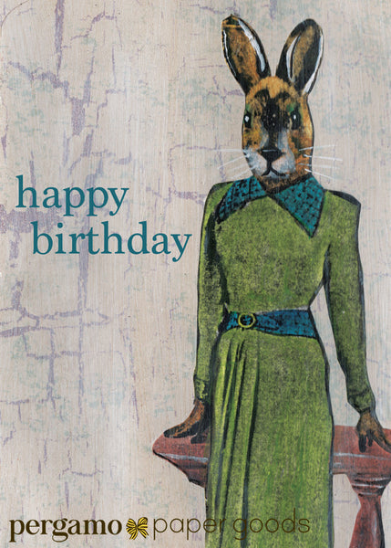 Mixed Media Illustrated Greeting Card, Happy Birthday Rabbit Card