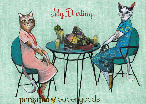 "Lesbian greeting card for cat lovers, text reads ""my darling,"" lady cats wearing clothes, cats wearing vintage dresses, dressed up animal art, dressed up cat art, mixed media illustration, cat illustration, cat moms, cat lovers"