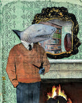 Vintage Inspired Art for Animal Lovers - Dapper Shark Man Art Print www.pergamopapergoods.com