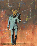 Handmade collage illustration, vintage deer art. Dressed up deer in clothes, deer in suit.