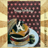 happy birthday card featuring illustration of boston terrier in a cheeseburger on a polka dot background