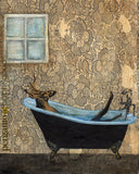Mixed Media Deer laying in a Bathtub