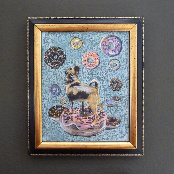 Framed original painting by Gianna Pergamo. Donut pug painting. Mixed media original painting for sale.