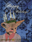 "Illustrated fox greeting card, illustrated holiday card, fox illustration, mixed media fox, handmade greeting card, vintage fox lady, unique handmade greeting cards, ""Happy Holidays"" Unique Illustrated Animal Holiday Cards - Lady Fox Holiday Card by Pergamo Paper Goods"