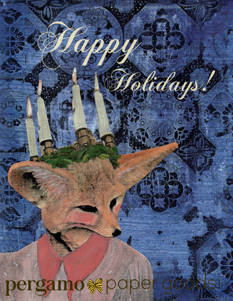 "Illustrated fox greeting card, illustrated holiday card, fox illustration, mixed media fox, handmade greeting card, vintage fox lady, unique handmade greeting cards, ""Happy Holidays"""