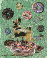 Mixed media pug illustration, Pug is on a donut and is surrounded by donuts on a green patterned background. Art for sale.