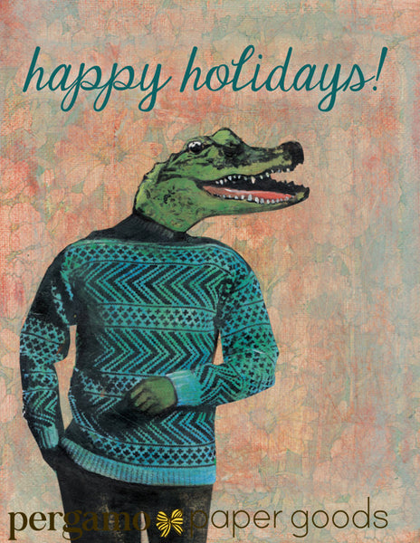 Alligator Holiday Card or Card Set - Sweater Gator