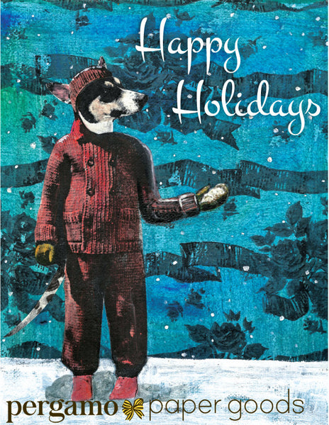Retro illustration of a anthropomorphic dog in a coat, outside in the snow on a patterned background. Text reads Happy Holidays