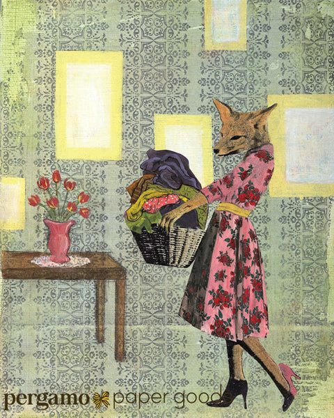 Retro Fox Art Print - Laundry Room Art For Animal Lovers www.pergamopapergoods.com